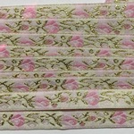 Ribbon -10mm White/Gold/Pink Roses
