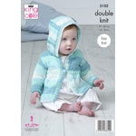 Easy Knit Baby Hooded Collared Coat & Hat King Cole DK Knitting Pattern 5102