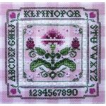 Tiny Pink Carnation Alphabet Cross Stitch Sampler