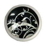 Button - 25mm Black/White Scroll ST4407