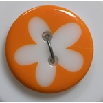 Button - 16mm Orange Pastel Flower
