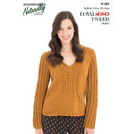 N1389 V-Neck & Cable Sweater Pattern 8 Ply