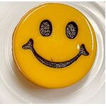 Button - 15mm Yellow Smiley Face Shank