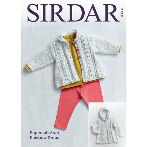 5182 - Matinee Coats in Supersoft Aran Rainbow Drops Pattern